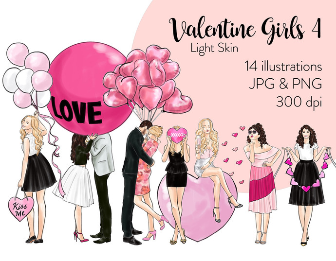 Watercolor fashion illustration clipart - Valentine Girls 4 - Light Skin