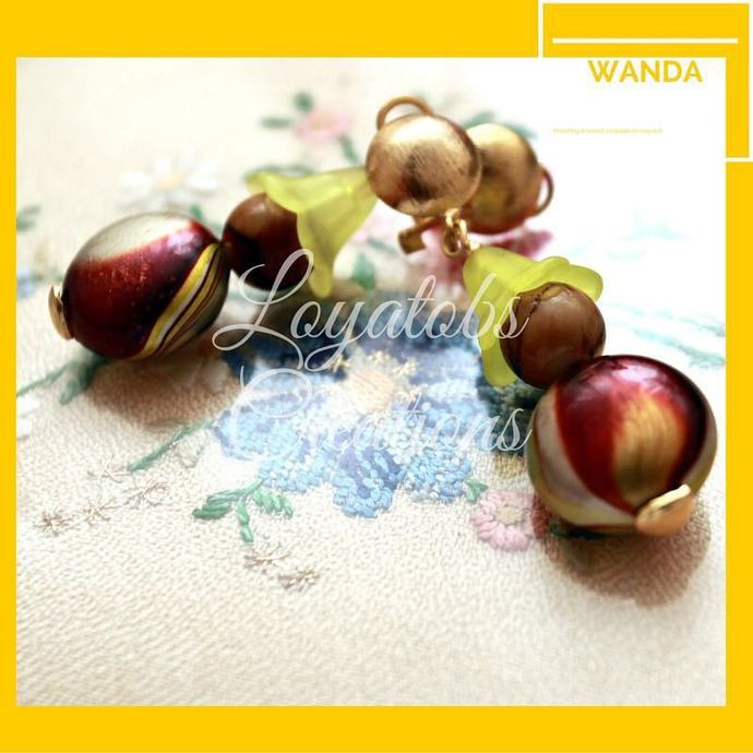 Green Puff Coin Bead Earrings