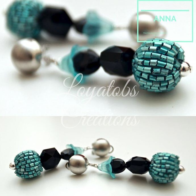 Turquoise and Black Crystal Bead Drop Earrings
