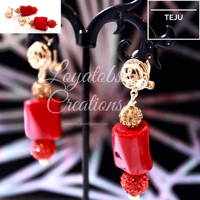 The Queen Coral Bead Earrings