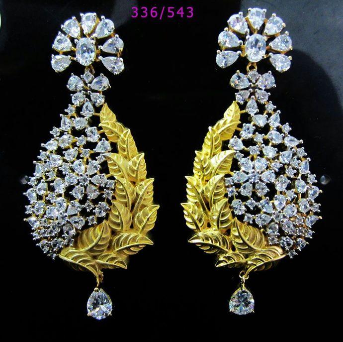 Gold Leaf Cubic Zirconia Earrings