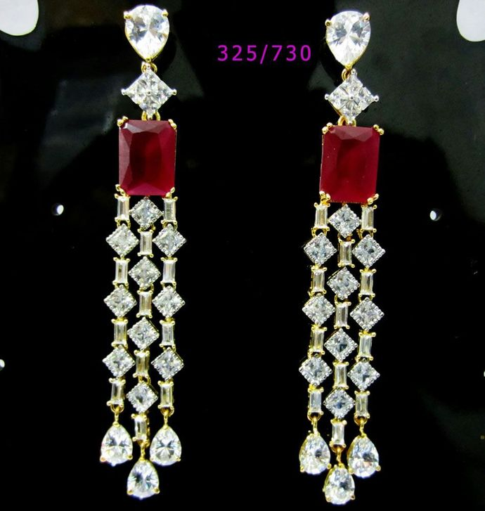 The Pink Clear Diamond Cut Cubic Zirconia Dangle Earrings