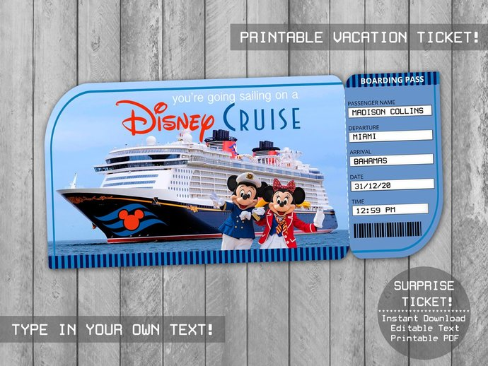 Printable Cruise Surprise Trip Ticket, Boarding Pass, Customizable Template, You
