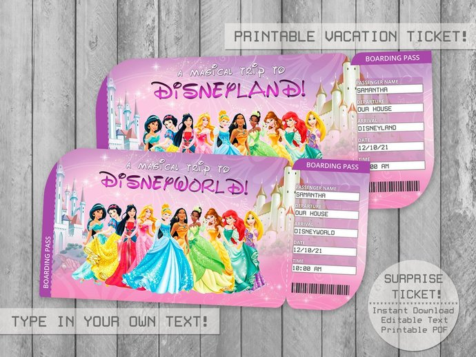 Printable Princess Surprise Trip Ticket Editable File, Boarding Pass,
