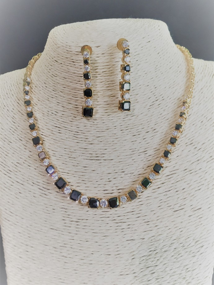 The Black and White Cubic Zirconia Necklace and Earring Set