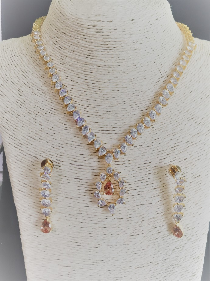 The Peach Tear Drop Cubic Zirconia Necklace and Earring Set