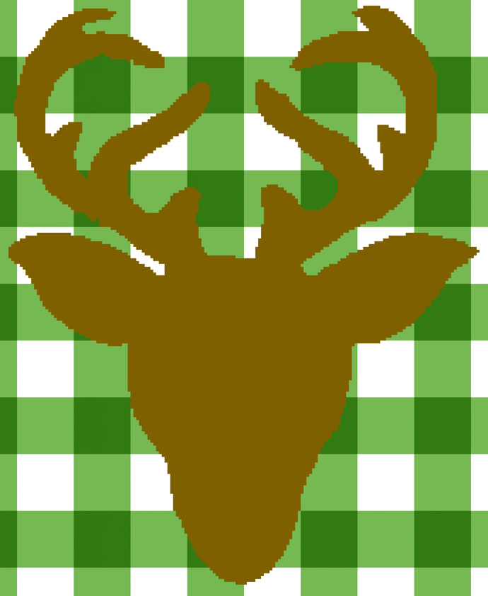 Deer In Plaid, full graph and written pattern