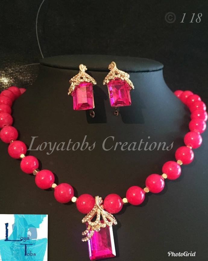 Fuchsia Jade Necklace and Earring Set