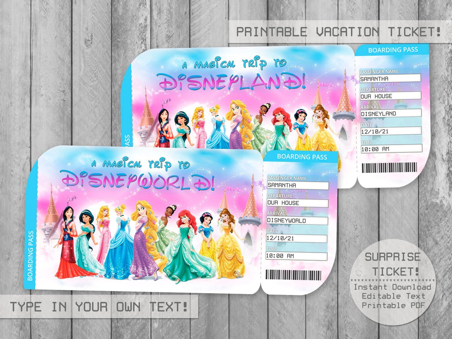 This is an image of Hilaire Printable Disney Tickets