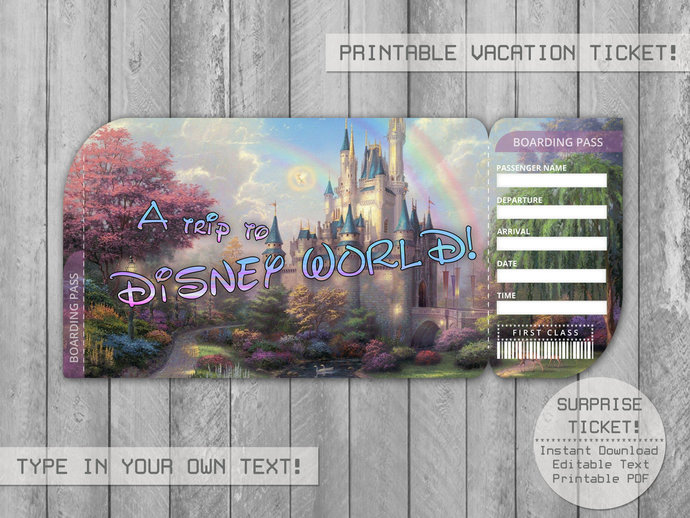 graphic relating to Disney World Printable Tickets known as Printable Disney Question Vacation Ticket in the direction of Disneyland/DisneyWorld, Boarding P Editable Document, Boarding P, Customizable Template- Yourself Fill