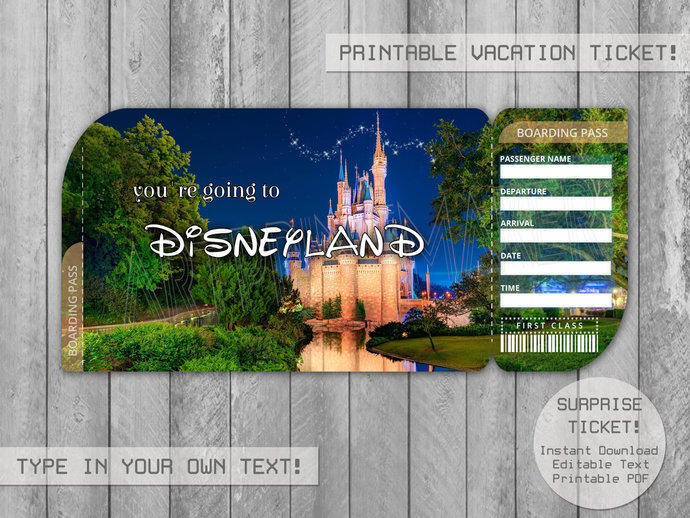photograph about You're Going to Disneyland Printable named Printable Disney1 Speculate Holiday vacation Ticket towards Disneyland/DisneyWorld, Boarding P Editable History, Boarding P, Customizable Template- By yourself Fil