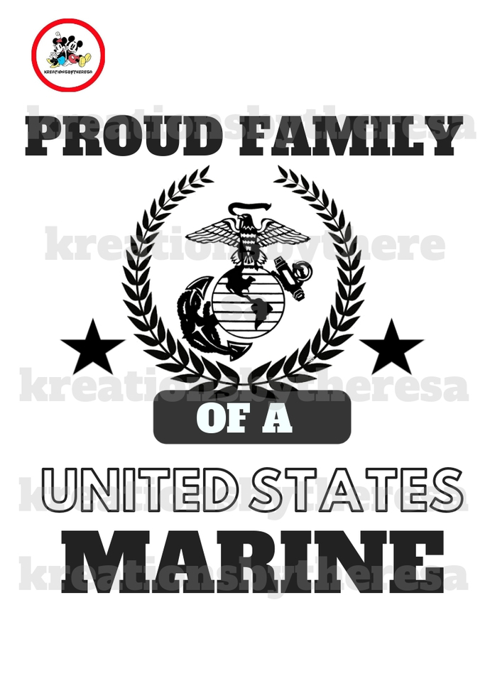 Proud Family Of A  Marine Iron  Printable Iron On Transfer/Printable at Home/diy