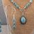 Handmade Southwestern Style Teal Magnesite Cabochon and Magnesite Gemstone