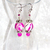 Dangle Earrings beaded with Pink and White Swirly round beads for Valentine's