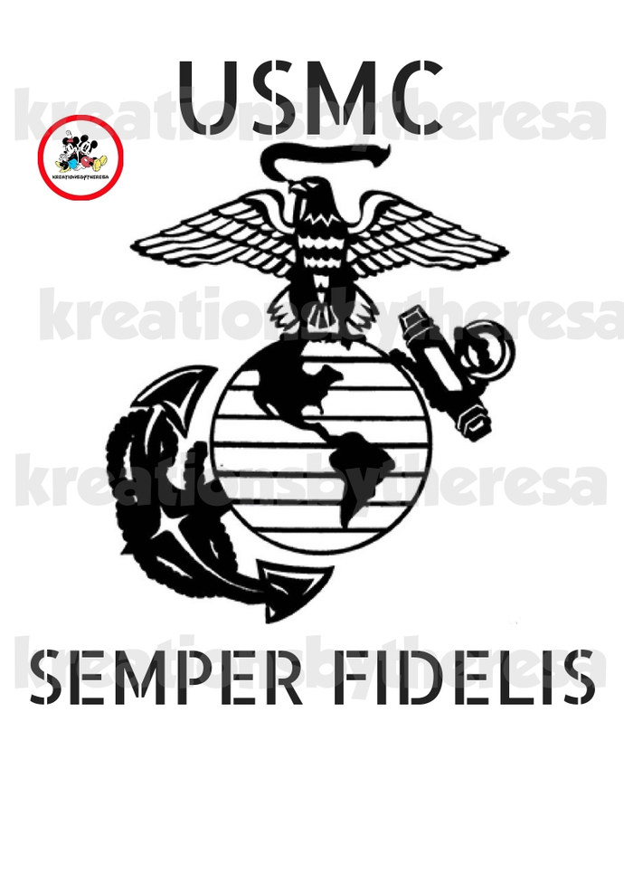 USMC SEMPER FIDELIS Printable Iron On Transfer/Printable at Home/Diy