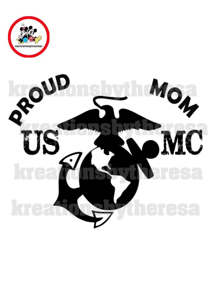 Proud USMC Mom Printable Iron On Transfer/Printable at Home/Diy