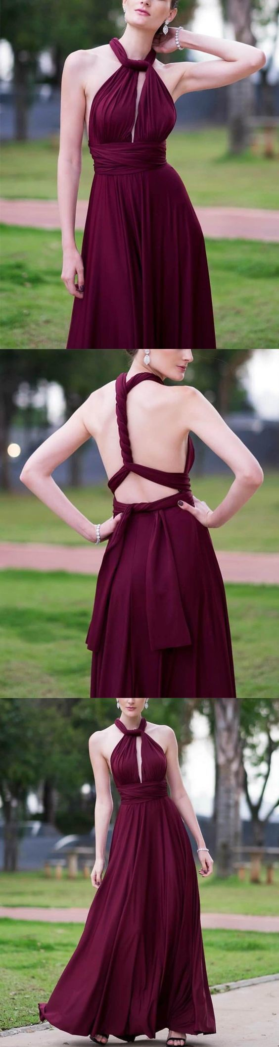 Sexy Backless Floor Length Chiffon Halter Bridesmaid Dresses