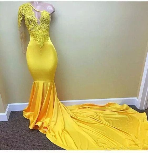 Sexy African Lace Prom Dresses Yellow One Shoulder Long Sleeve Black Girl Evening Dresses