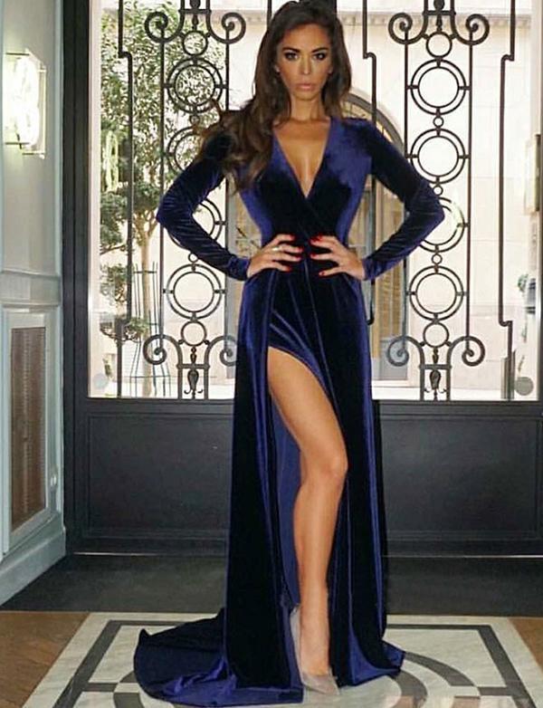 0165b8a0cdf Navy Blue Velvet Prom Dress Sexy Side Silt Women by RosyProm on Zibbet