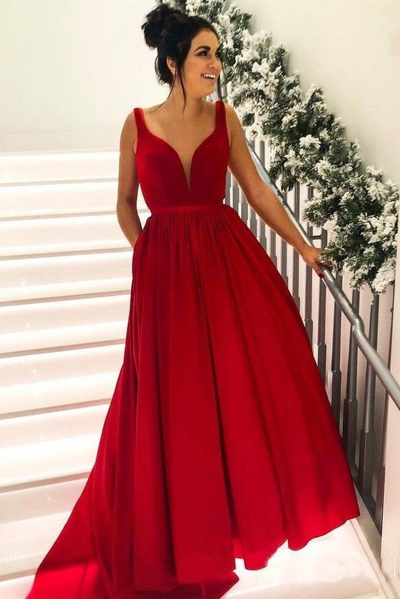 Simple Broad Straps Red Long Prom Dresses