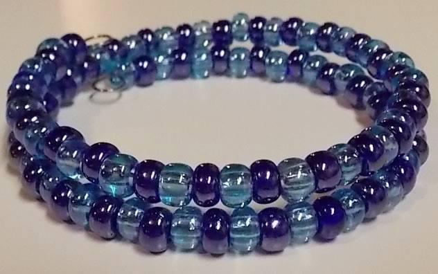 Light & Dark Blue Beaded Memory-Wire Bracelet
