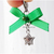 Silver Star Pet Collar Charm with Green Ribbon, Holidays, Christmas, Cat