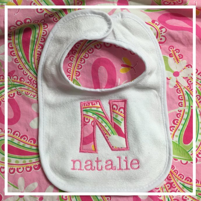 Lilly Pulitzer Baby Bib/ Lilly Pulitzer Paisley Baby Bib/ Personalized Lilly