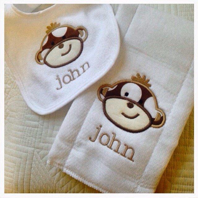 Monkey Baby Bib and Burp Cloth Gift Set ~ Sock Monkey Bib and Burp Cloth Set ~