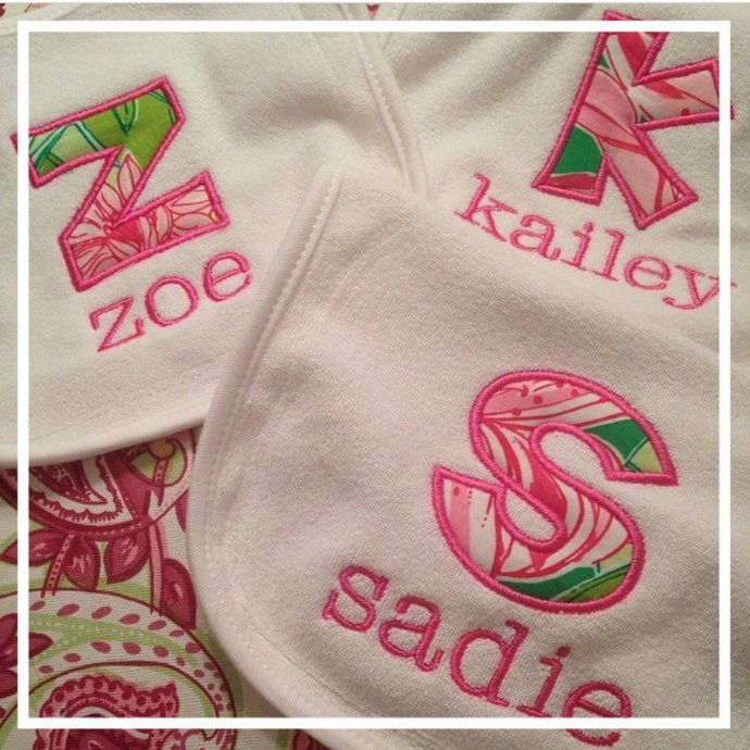 Personalized Lilly Pulitzer Bib ~ Monogrammed Lilly Pulitzer Baby Bib ~ Custom