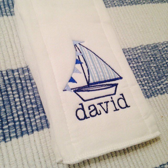 Baby Boy Burp Cloth- Sailboat monogram Burp Cloth- Personalized Burp Cloth- boat