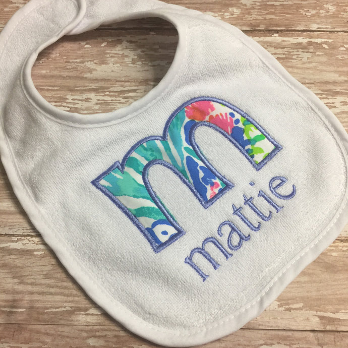 Personalized Lilly Pulitzer Baby Bib ~ Lilly Pulitzer Fabric Bib ~ Handmade