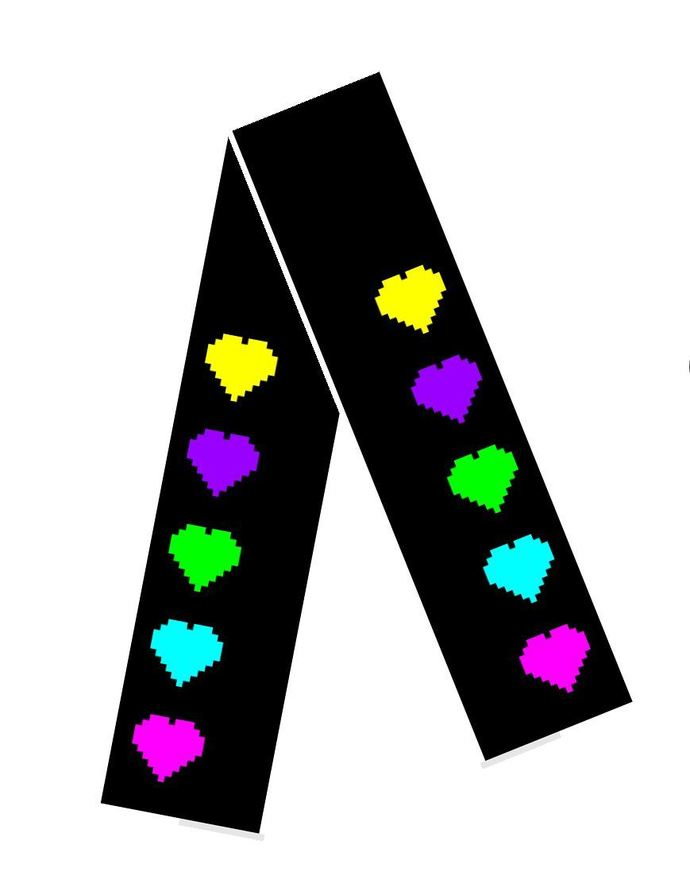 Scarf - Offset Hearts - Black Background