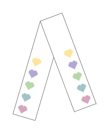 Scarf - Offset Hearts - White Background