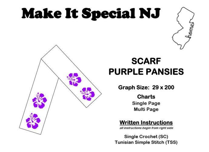 Scarf - Pansies - Purple