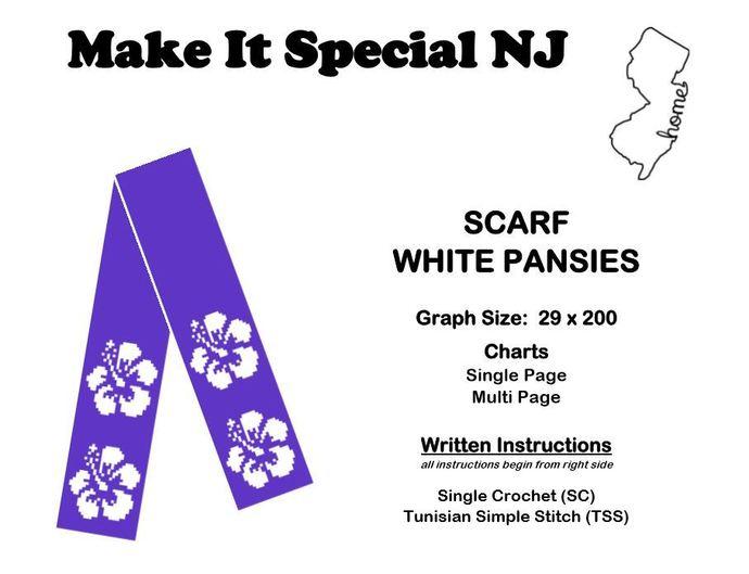 Scarf - Pansies - White