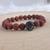 Handmade lava bead Oil Diffusing bracelet with black cubic zirconia skull