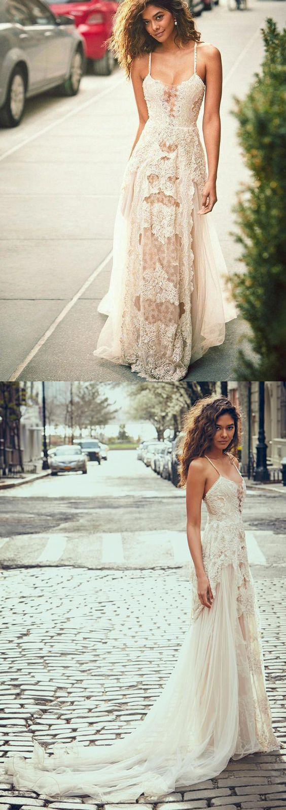 A-Line Spaghetti Straps Tulle Beach Wedding Dress, Boho Wedding Gown with Lace