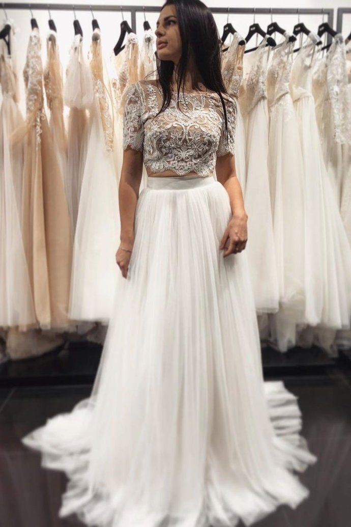 White two pieces lace tulle long prom dress, white evening dress