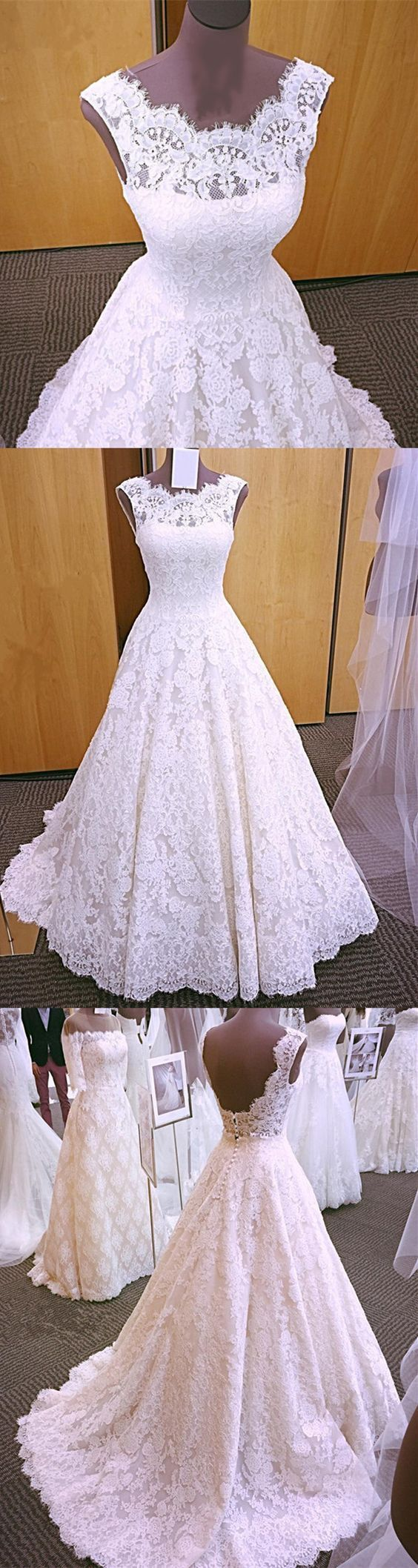Elegant White Appliques Lace A Line Formal Wedding Dresses Bridal Gown