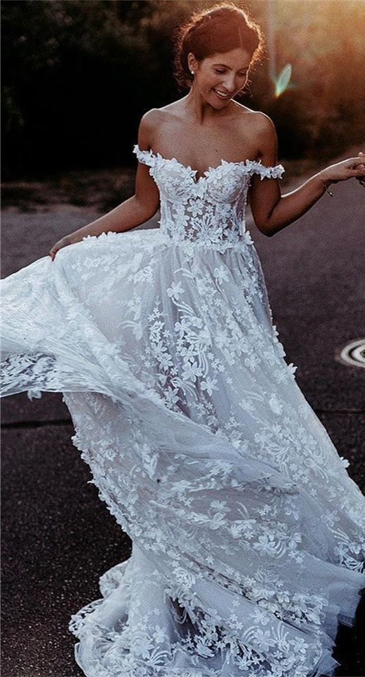 Custom Made Appliques Off the Shoulder A Line Tulle Wedding Dress with Flower
