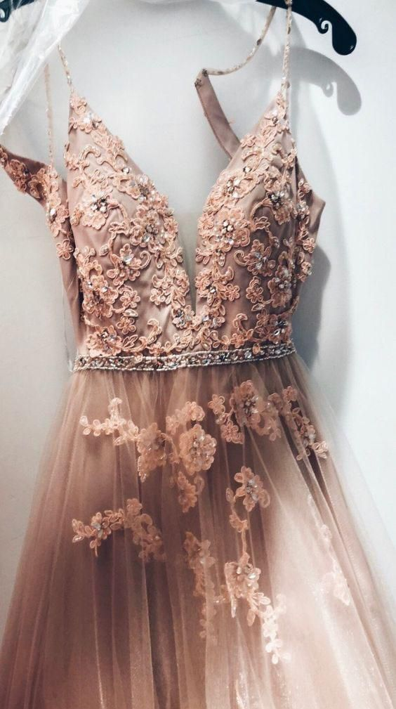 Appliques Champagne Tulle A Line Prom Dress, Long Homecoming Dress