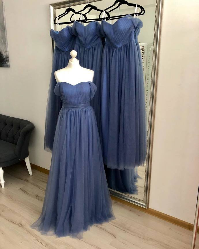 Off Shoulder A Line Tulle Prom Dress/Bridesmaid Dresses, Wedding Party Gown