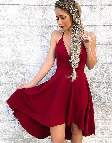 Wine Red Sexy Short Dresses
