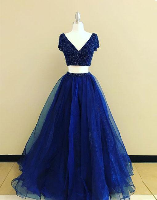 Elegant Short Sleeve Two Piece Prom Dress, Navy Blue Tulle Long Homecoming Dress