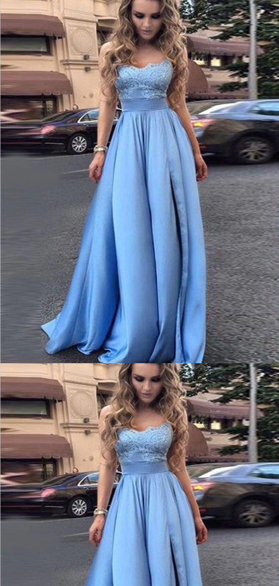 Blue Strapless A Line Prom Dress, Appliques Homecoming Dress, Long Evening Dress