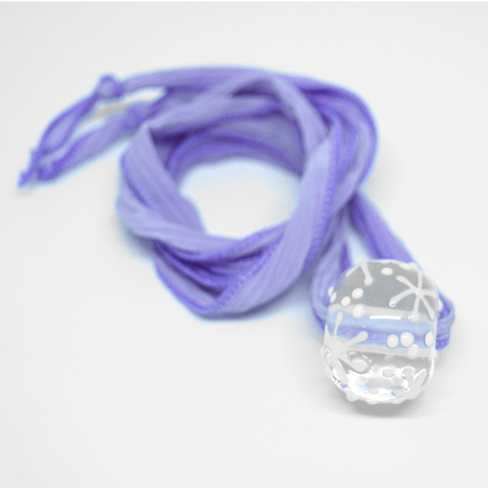 Snowflake Necklace, Lampwork Bead on Silk Ribbon