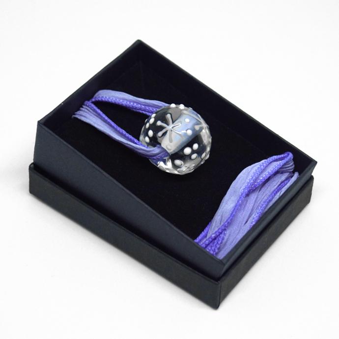 Snowflake Necklace, Lampwork Bead on Silk Ribbon