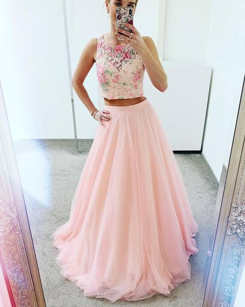 Elegant Two Piece Pink Prom Dress,  Appliques Tulle Long Homecoming Dress