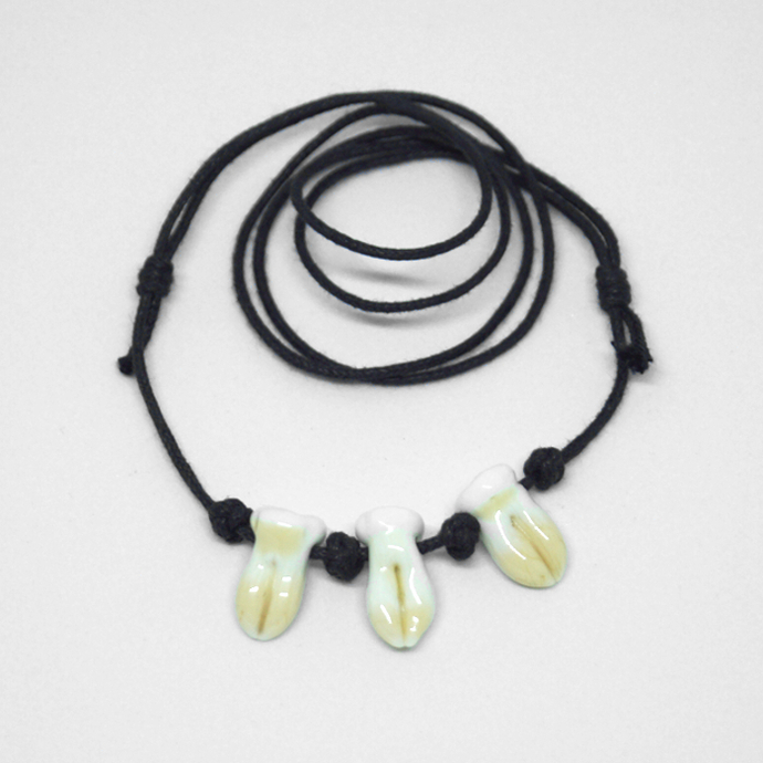 Teeth Bead Necklace, Lampwork Beads on cotton cord