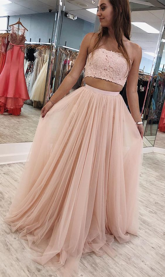 Pink Strapless Two Piece Prom Dress, Sexy Tulle Long Party Dress with Appliques